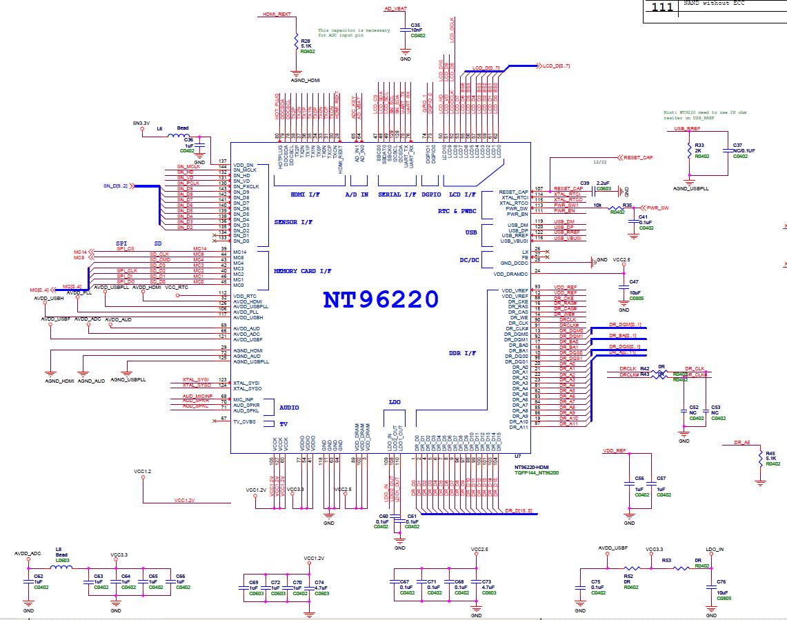 Похожая схема подключения процессора NOVATEK NT96220FG (Регистратор Texet DVR-443).